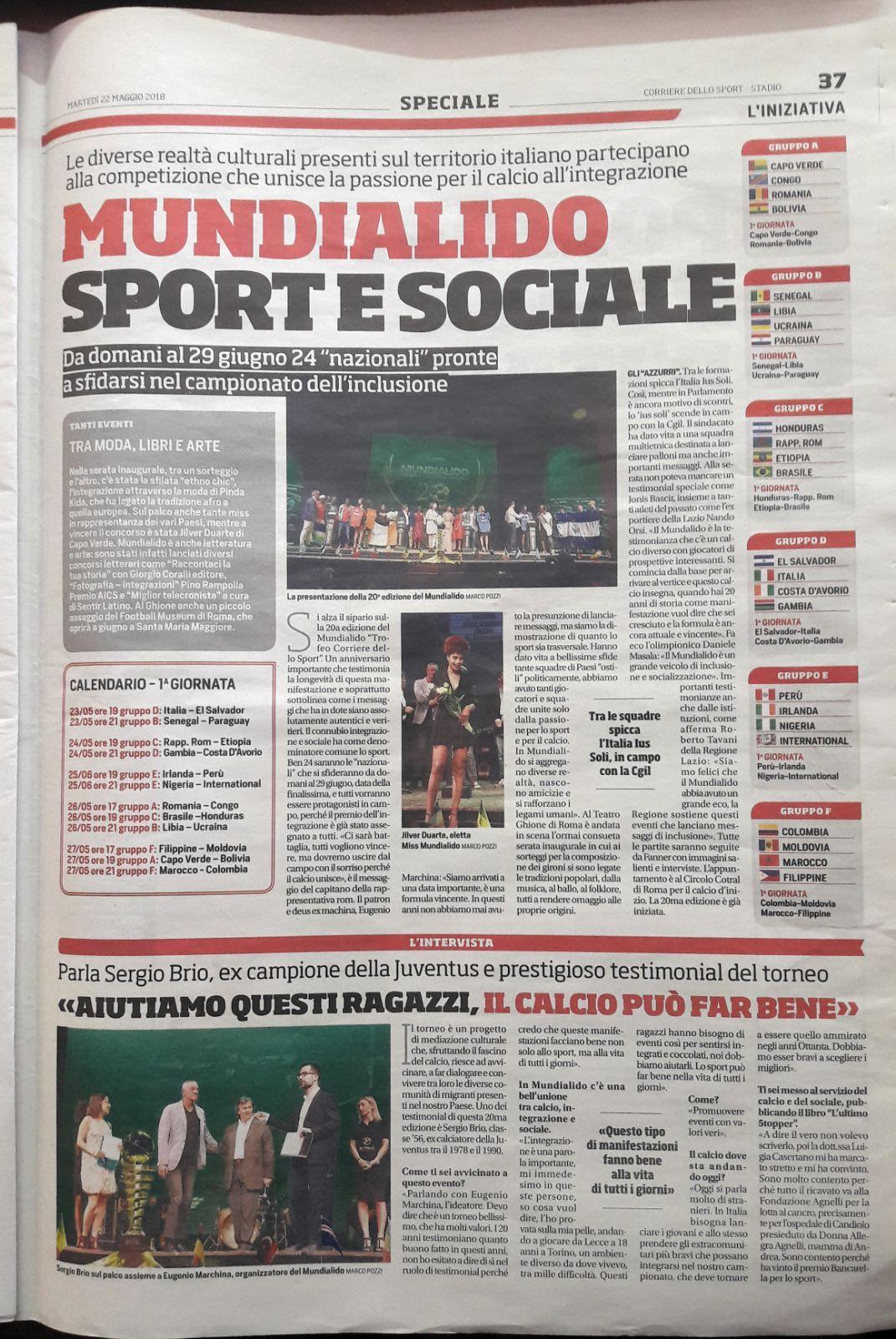 Corriere Dello Sport Calendario.Anche Il Corriere Dello Sport Parla Di Voi Mundialido