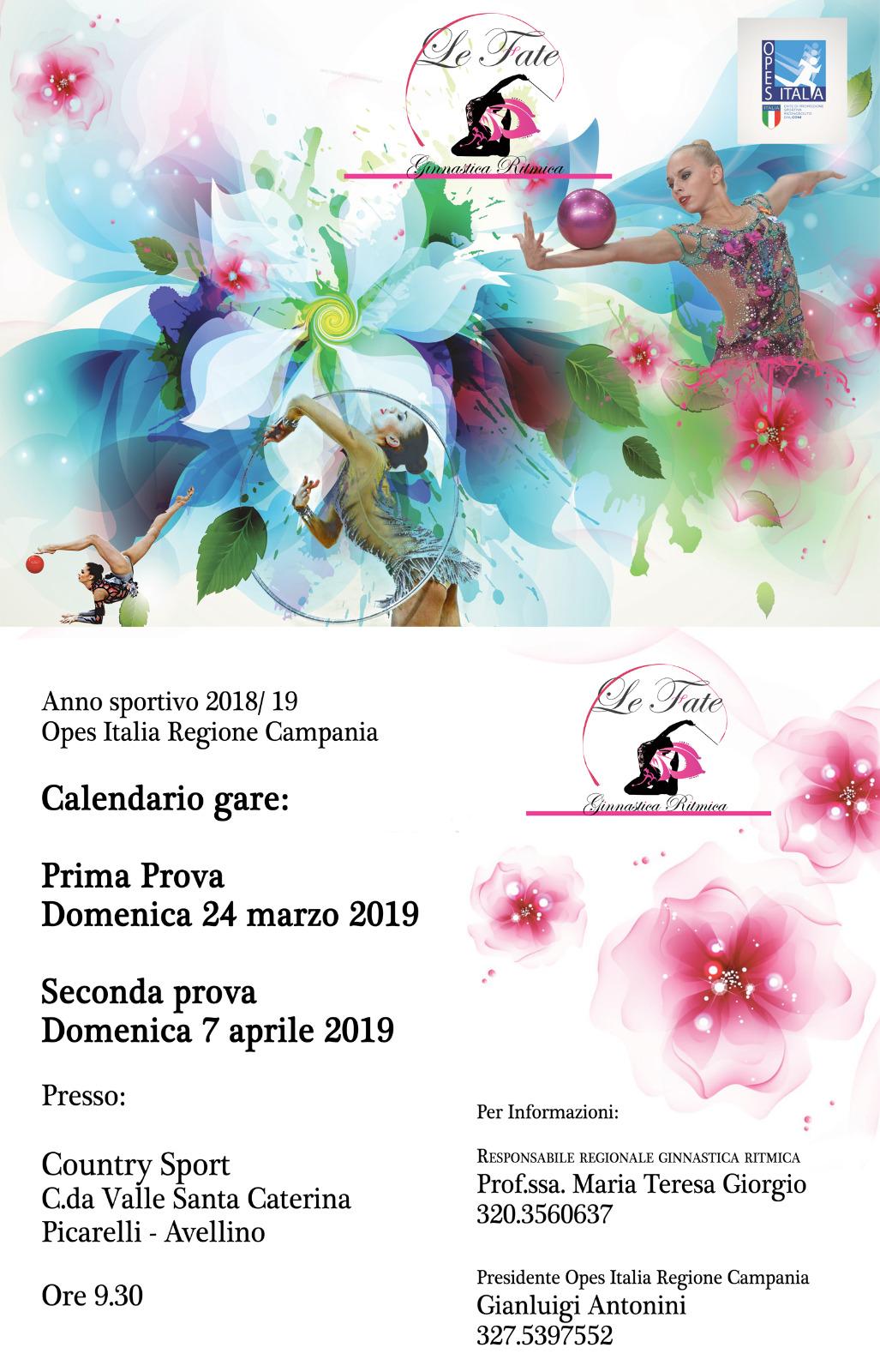 Calendario Regione Campania.Calendario Prove Ginnastica Ritmica 2019 Opes Campania